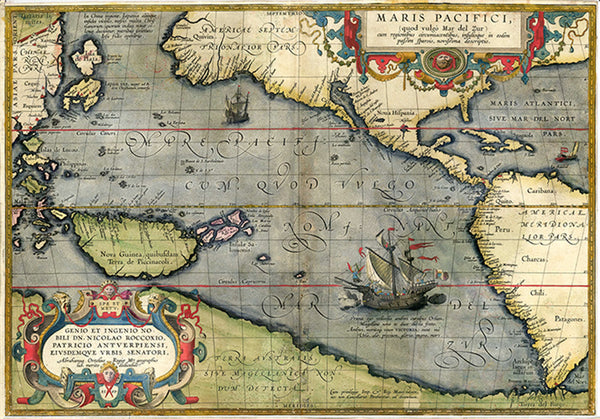 Maris Pacifici by Abraham Ortelius. This map was published in 1589 in his Theatrum Orbis Terrarum.