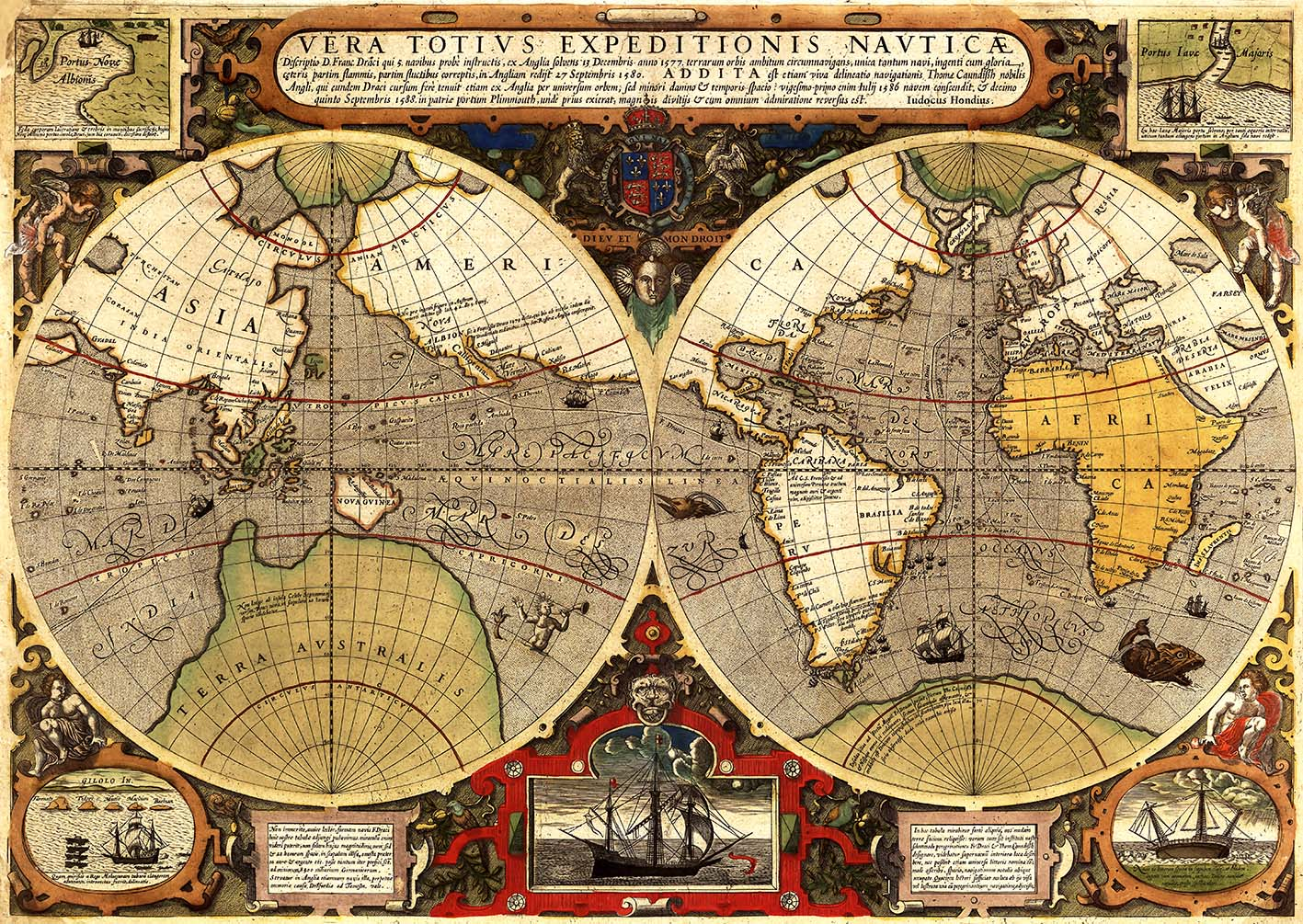 Gallery tagged maps hat hill gallery sir francis drake 1595 circumnavigation world map gumiabroncs Choice Image