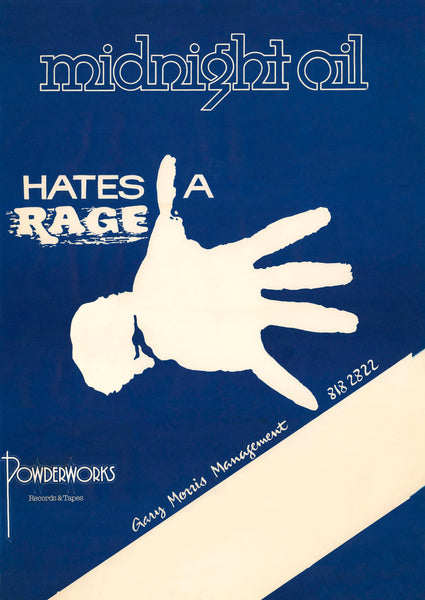 Midnight Oil - Hates A Rage - Peter Garrett.  A1/A2 Archival Giclee Print. Repro Poster