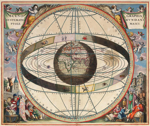 Ptolemaic System, from Andreas Cellarius' Harmonia Macrocosmica. This chart shows the universe as understood in 1660