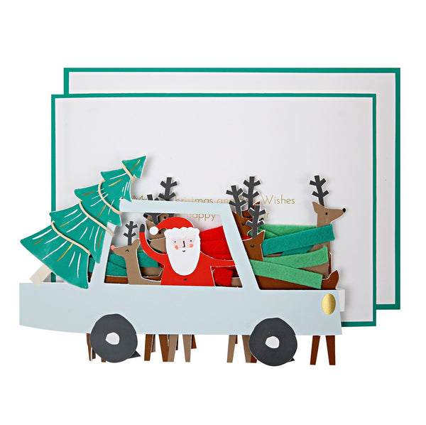SANTA CAR CONCERTINA CARD