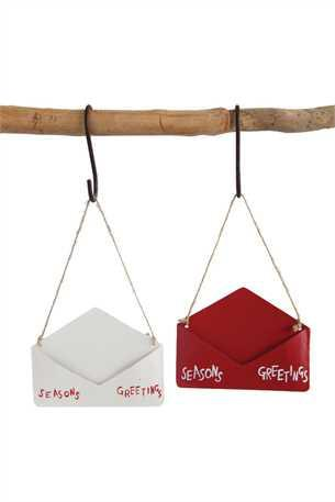 """SEASONS GREETINGS"" METAL ENVELOPE ORNAMENTS"