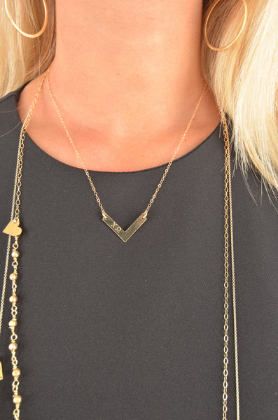 Sorority Gold V Bar Necklace