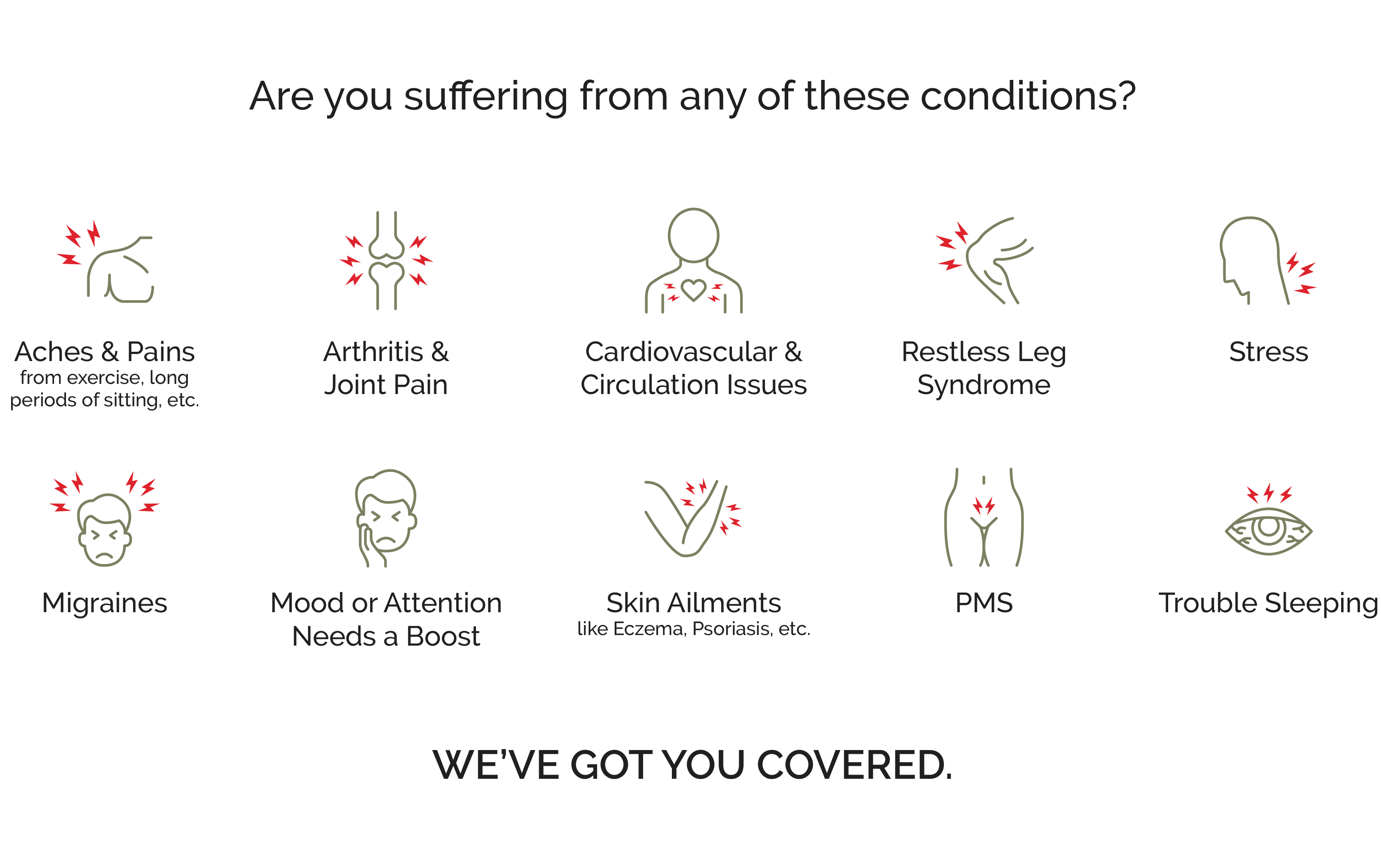 Are you suffering from any of these conditions? Aches & Pains, Arthritis & Joint Pain, Cardiovascular & Circulation Issues, Restless Leg Syndrome, Stress, Migraines, Mood or Attention needs a boost, Skin Ailments, PMS, Trouble Sleeping. We've got you covered