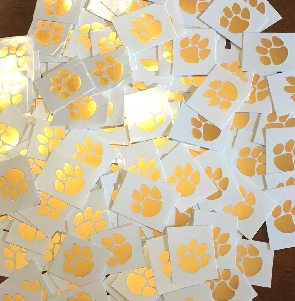 Tiger Paw Temporary Tattoo - Gold Foil - Set of 5 - Right Side of Face