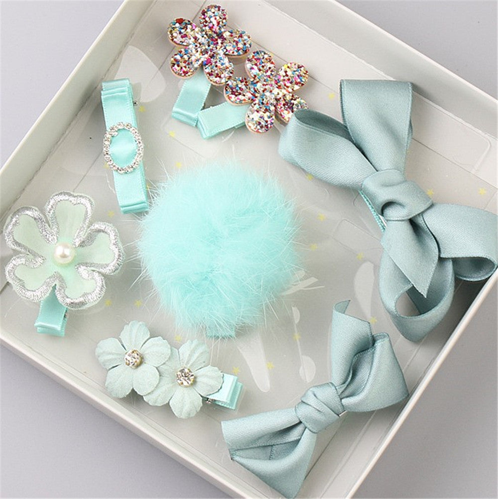 BABY BLUE Pompoms And Bows Set