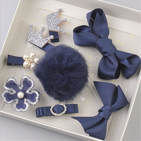 DARK BLUE Pompoms And Bows Set