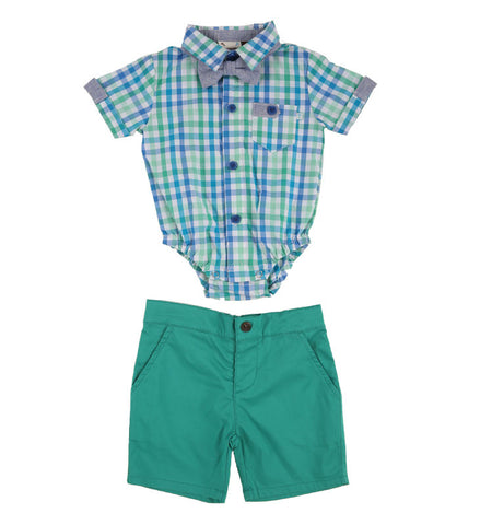 Green Check Onesie And Bowtie Set