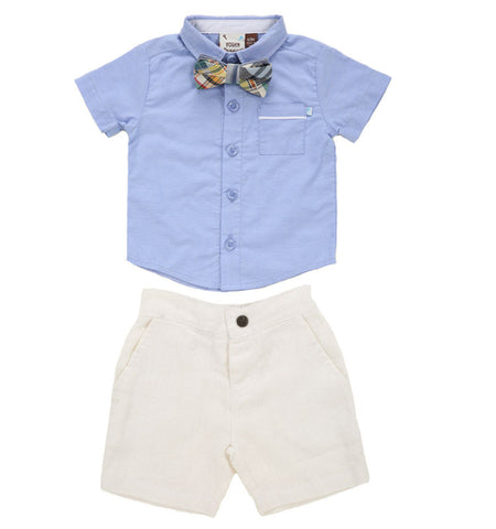 Classic Blue Shirt And White Shorts With Bow Tie Set