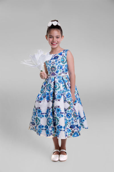 Printed Floral Design Brocade Dress (BLUE)
