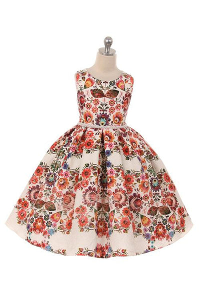 Printed Floral Design Brocade Dress (RED)
