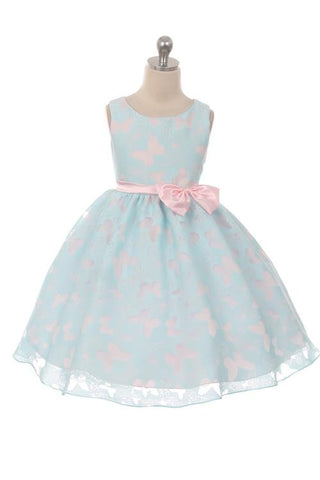 Butterfly Organza Dress (Light Blue/Pink)