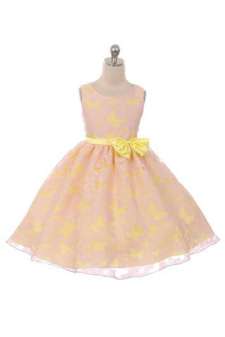 Butterfly Organza Dress (Pink/Yellow)