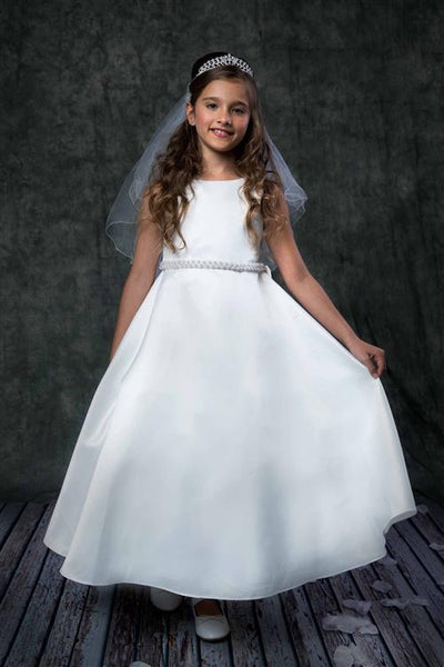 White Satin Communion Dress