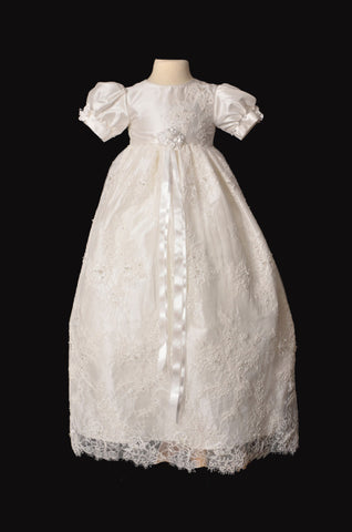 Rose Girls Silk Christening Gown