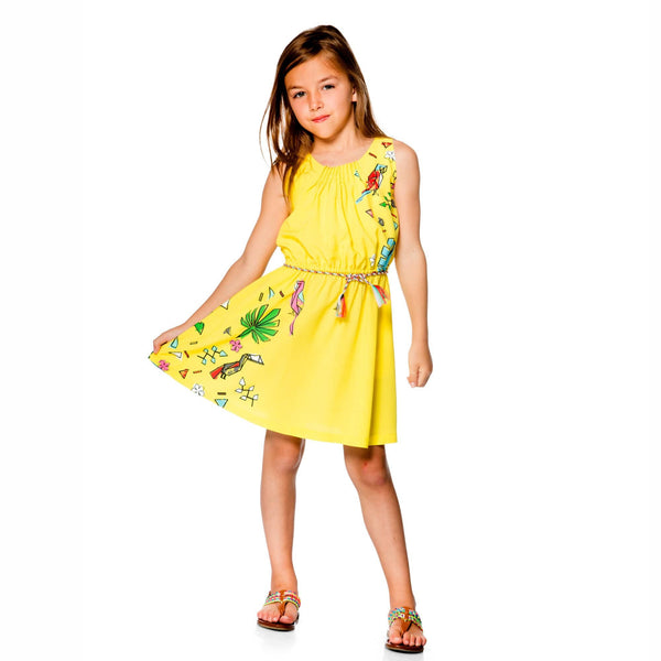Jungle Pop Yellow Viscose Dress