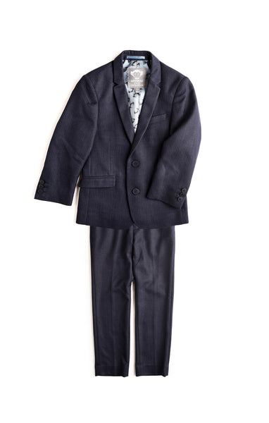 Boys 2-Pc Mod Suit(Navy Herringbone)
