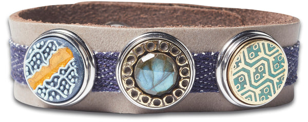 Indigo Classic Denim Bracelet - Mouse Grey