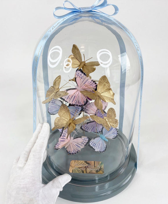 'Butterflies' by Forever Flowers © - LARGE Glass Dome