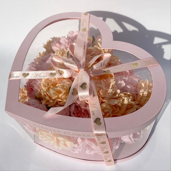 'Peony For Your Thoughts' Artificial Silk flowers LARGE Heart Box