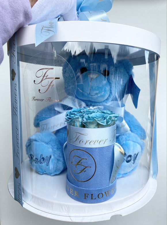 New Baby Welcome Set - Personalised Flowers & Teddy Bear