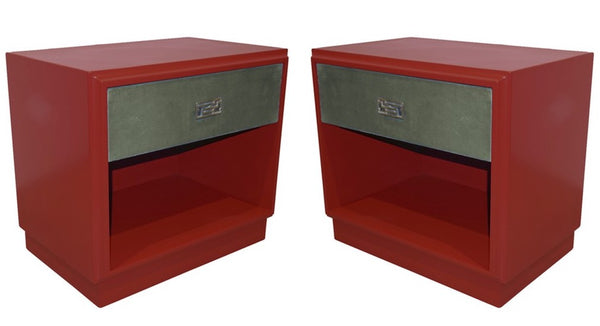 Pair of Italian Side Tables or Night Stands in Burgundy