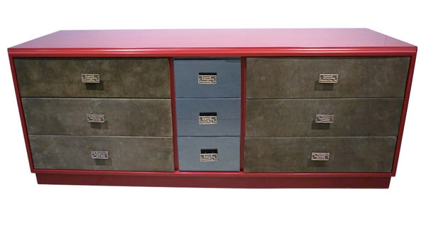 1970s-Frigerio-Green-Leather-Wine-Red-Nine-Drawer-Dresser