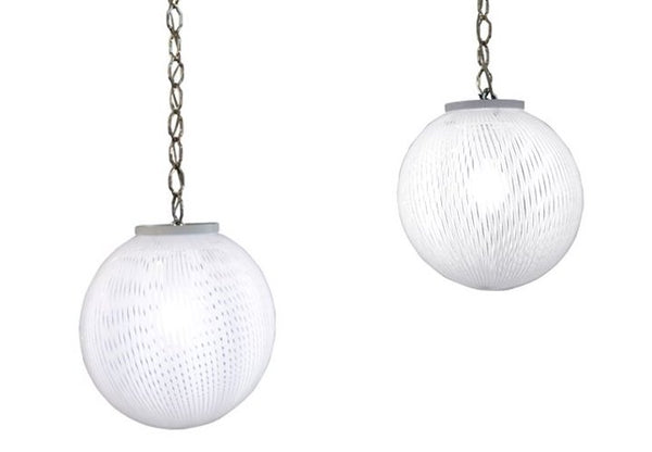 Pair White Filigrana Globe Pendants by Ludovico De Santillana