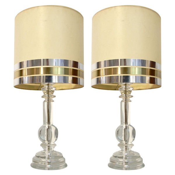 1970s Italian Pair Hand Cut Crystal Table Lamps