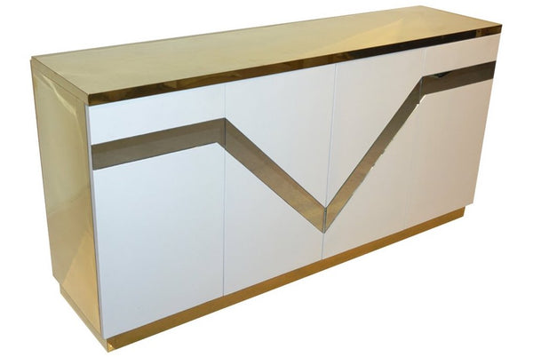 1970s Italian Designer Modern Mirrored and Brass Credenza