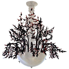 1980s-Modern-Italian-White-Murano-Glass-Chandelier-Coral-Decor