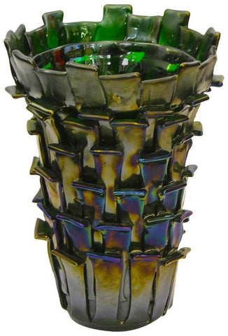 2001 Ritagli Sculptural Iridescent Green Murano Glass Vase