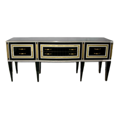 Italian-Art-Deco-Style-Black-Glass-Sideboard-Bronze-Insets