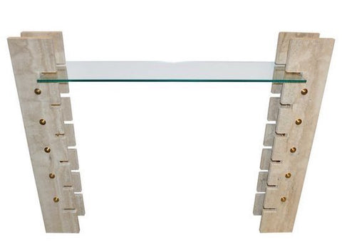 Jean Charles Travertine Console
