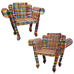 Artistic Colorful Armchairs Woven Fabric Signed Spazzapan