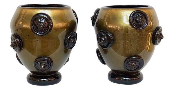 Signed Cenedese Murano Glass Vases Gold Black lion heads Decor