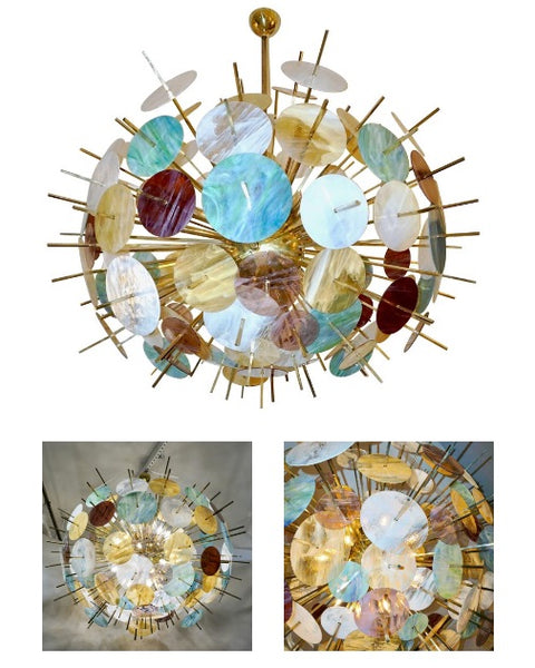 Contemporary-Italian-Brass-Pastel-Colored-Murano-Glass