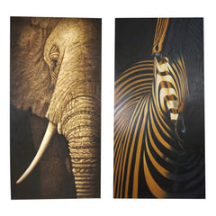 Realistic Oil Paintings of Elephant and Zebra