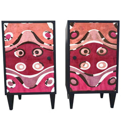 Pink Leather and Black Wood Nightstands