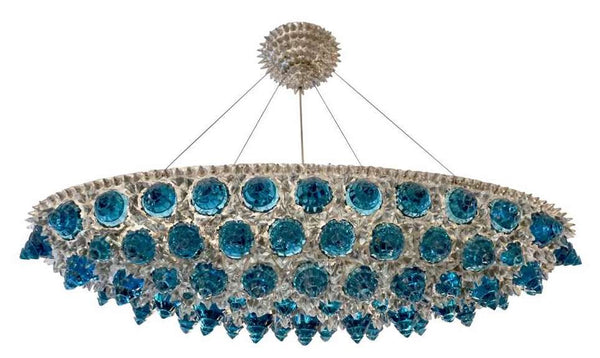 Italian Oval Chandelier / Pendant in Turquoise and Crystal Glass