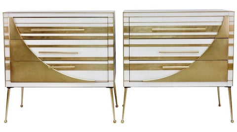Contemporary-Italian-pair-Gold-Brass-White-Glass-Chests