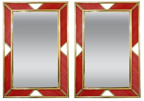 Coral Red Murano Glass Mirrors