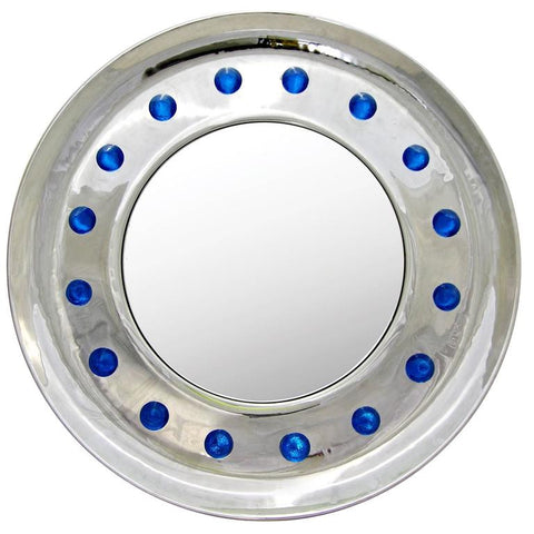 Round Chrome Mirror with Jewel Spikes Murano Glass Decor