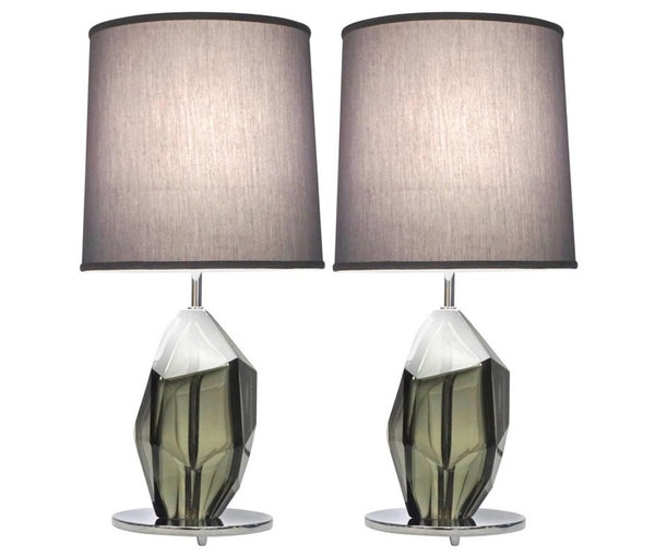 Donà-Contemporary-Italian-Pair-Faceted-Solid-Rock-Glass-Lamps