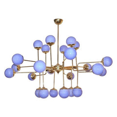 24 Light Chandelier Brass Structure Arms Holding Glass Spheres