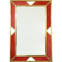 Customizable Italian Red Glass and Brass Framed Mirror