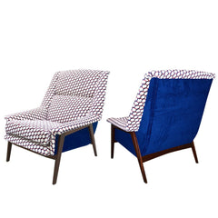 Italian-Walnut-Armchairs-Blue-white-Red-Fabric