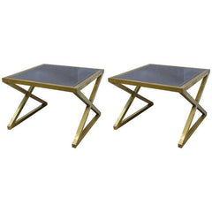 Handcrafted x-framed Brass Black Glass Side Tables