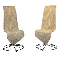 Italian Iconic High Back Lounge Chairs in Woven Cord Design