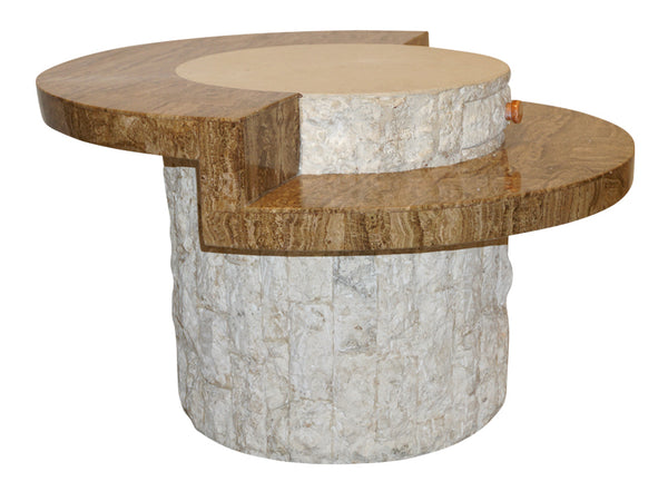 Italian Vintage Sand Marble Ivory White Stone Side Table
